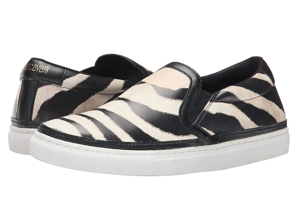 Just Cavalli Poetic Zebra Printed Nappa Pearl Variant Womens Slip on Shoes