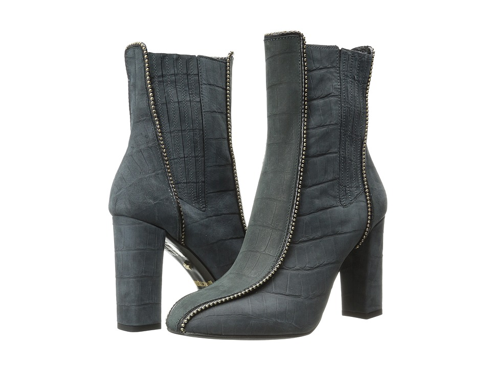 Just Cavalli High Heel Ankle Boot w/ Beaded Detail Black Womens Pull on Boots