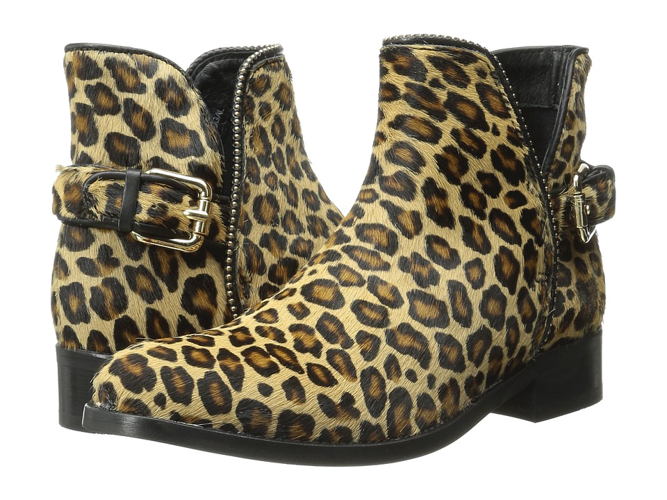 Just Cavalli Leopard Pony Hair Ankle Boot Leather Brown Womens Pull on Boots