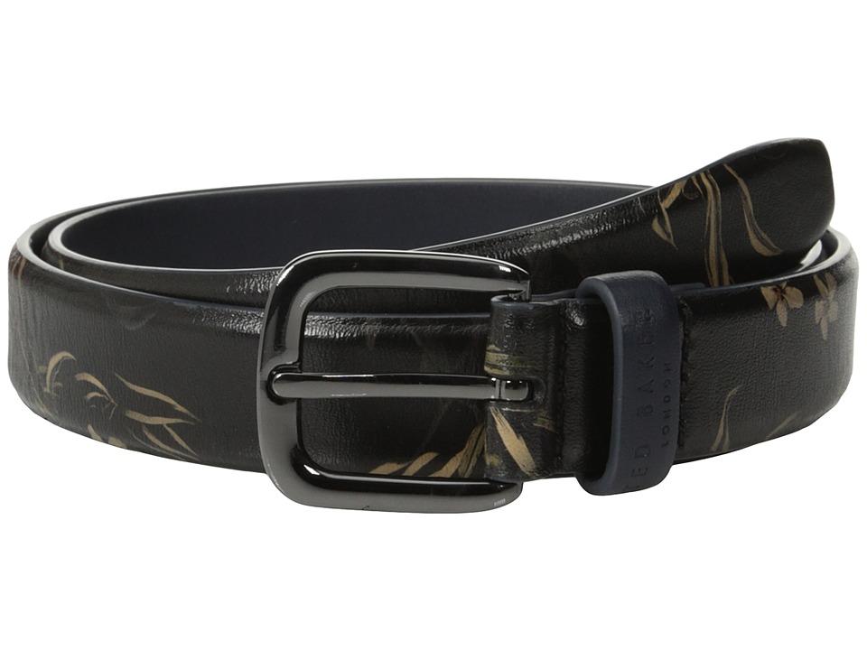 Ted Baker Palbelt Printed Leather Floral Belt Navy Mens Belts