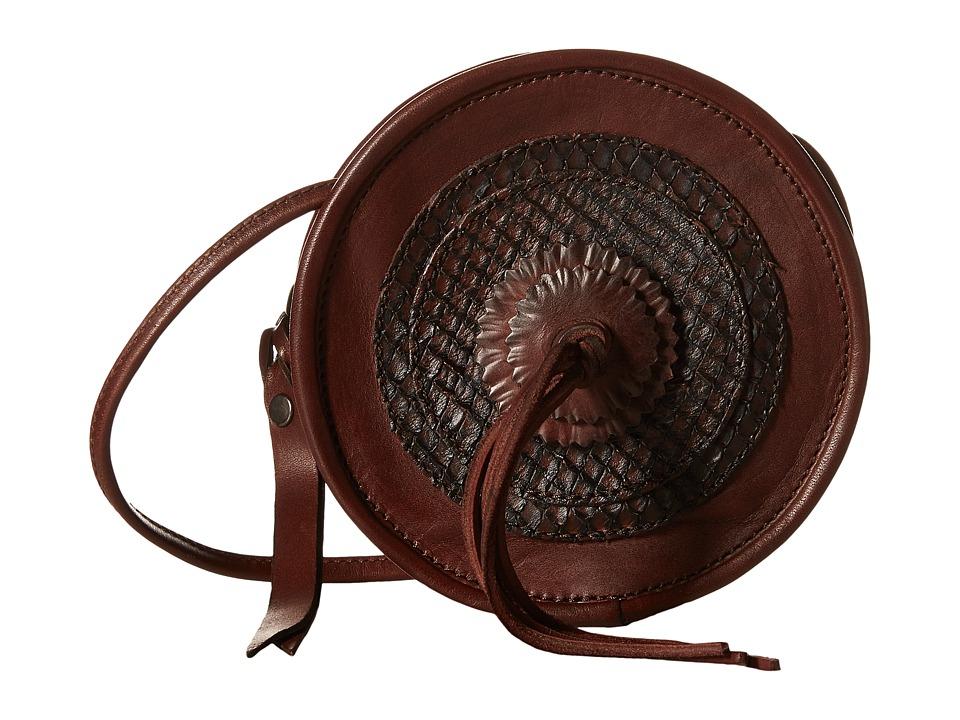 Frye - Layla Concho Circle Bag (Redwood Smooth Vintage Leather/Cut Leather) Shoulder Handbags