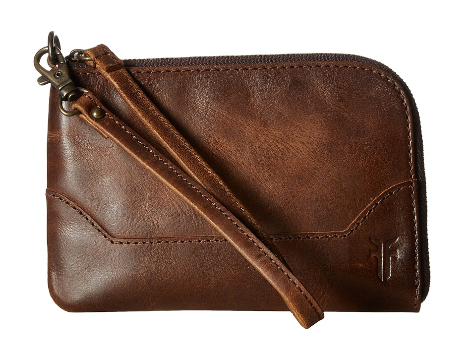 Frye Melissa Wristlet (Dark Brown Antique Pull Up) Wristl...