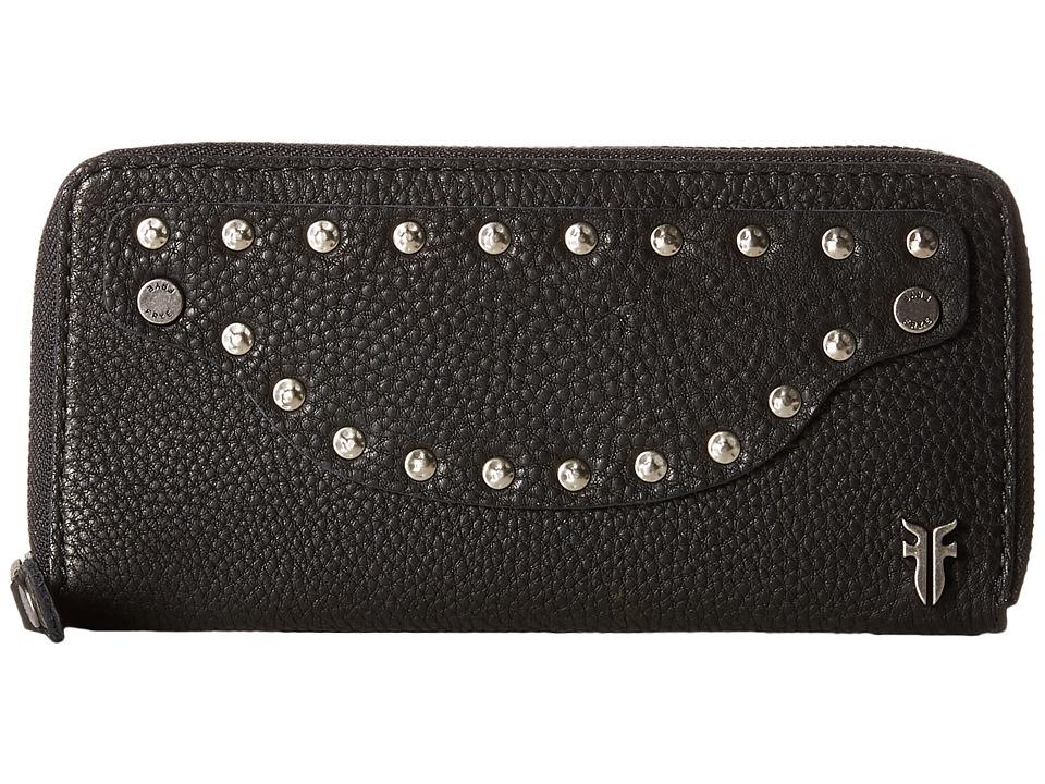 Frye Nikki Nail Head Large Wallet Black Soft Tumbled Full Grain Wallet Handbags