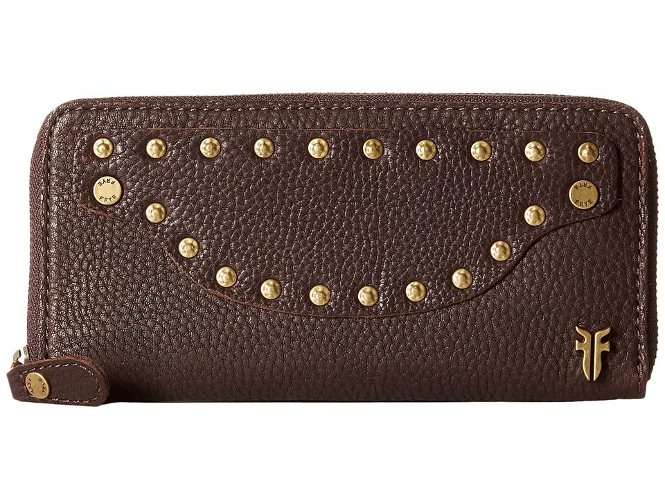 Frye Nikki Nail Head Large Wallet Dark Brown Soft Tumbled Full Grain Wallet Handbags