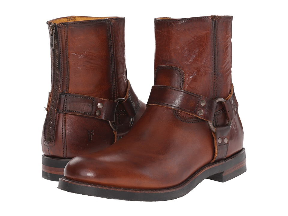 Frye - Clinton Harness Back Zip (Cognac Oiled Vintage) Men