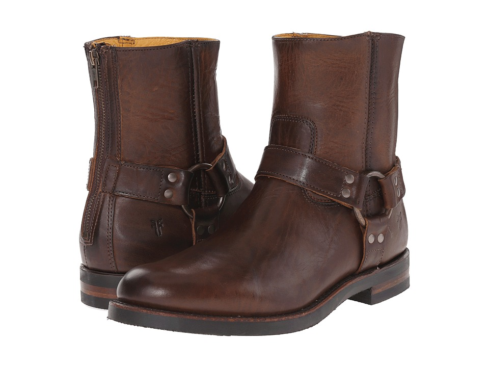 Frye - Clinton Harness Back Zip (Dark Brown Oiled Vintage) Men