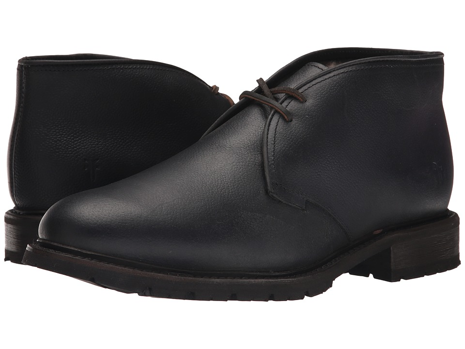 Frye - James Lug Chukka Shearling (Black WP Soft Pebbled Full Grain) Men