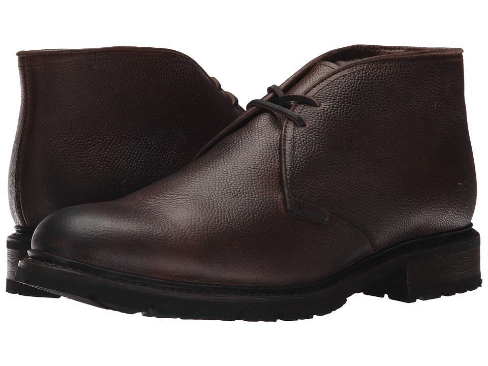 Frye - James Lug Chukka Shearling (Dark Brown WP Soft Pebbled Full Grain) Men