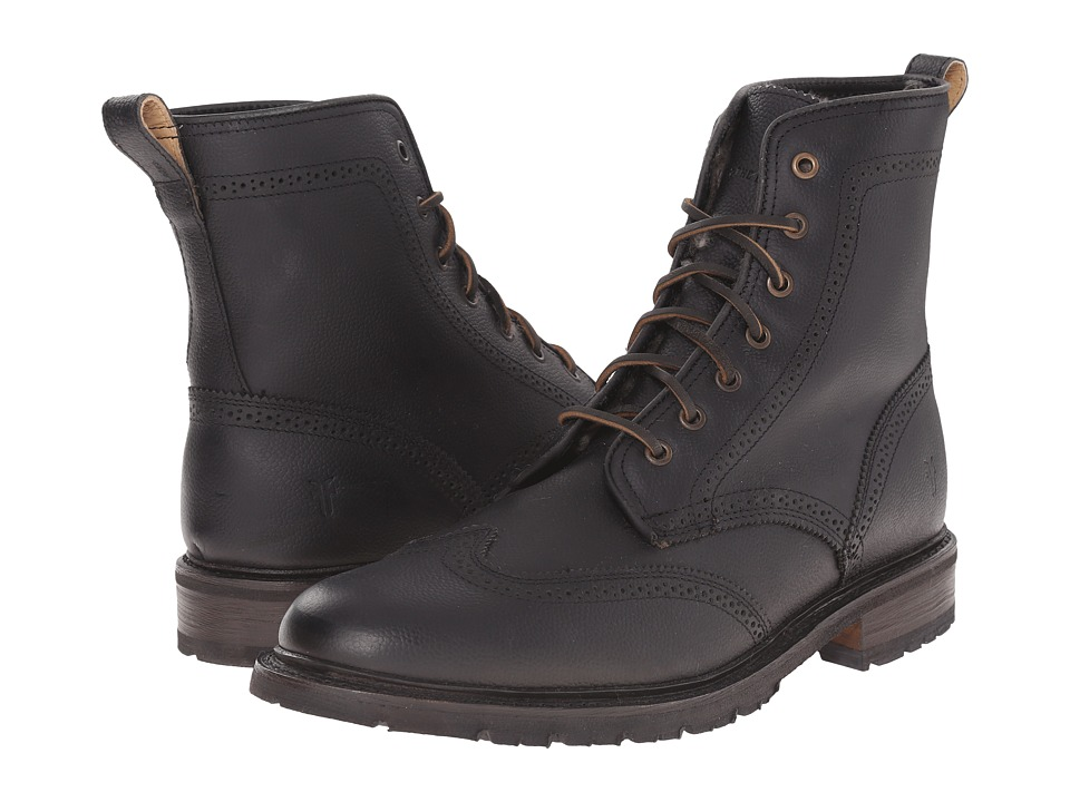 Frye - James Lug Wingtip Boot (Black WP Soft Pebbled Full Grain) Men