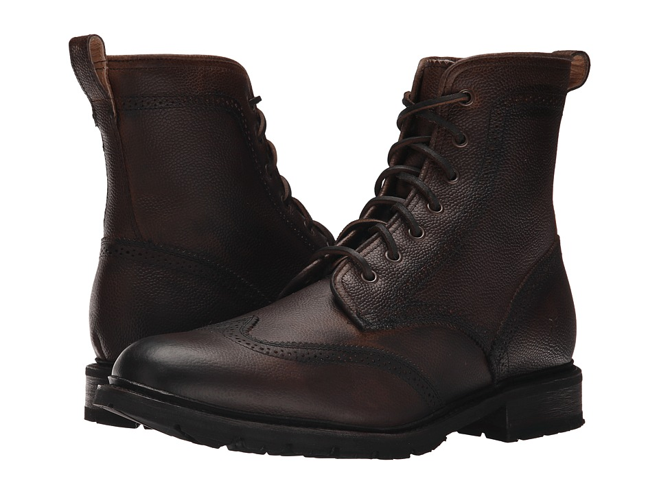 Frye - James Lug Wingtip Boot (Dark Brown WP Soft Pebbled Full Grain) Men