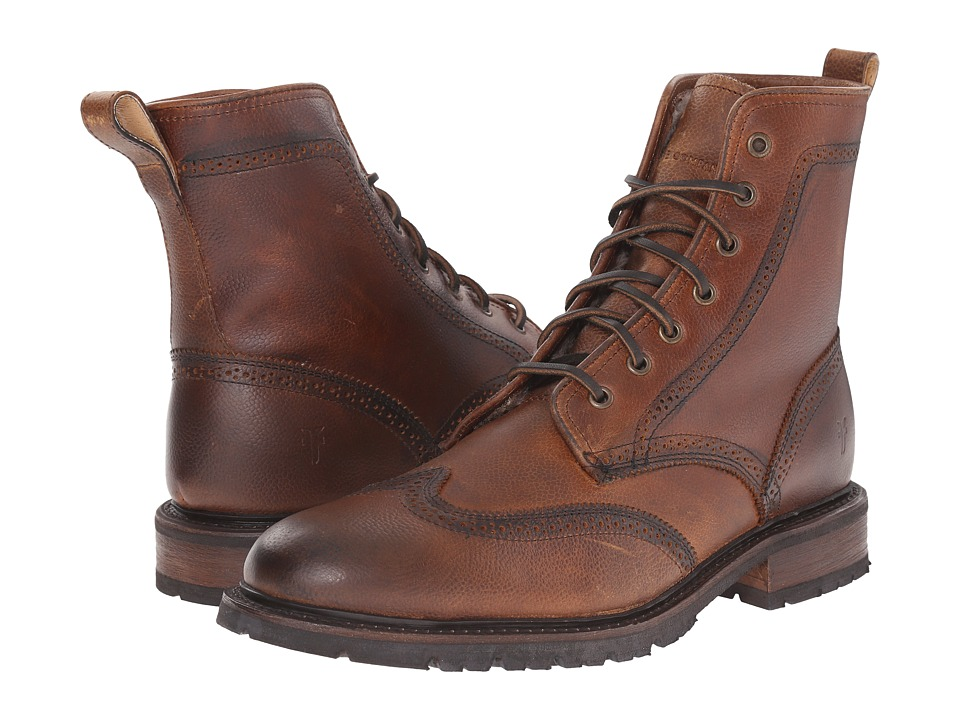 Frye - James Lug Wingtip Boot (Whiskey WP Soft Pebbled Full Grain) Men