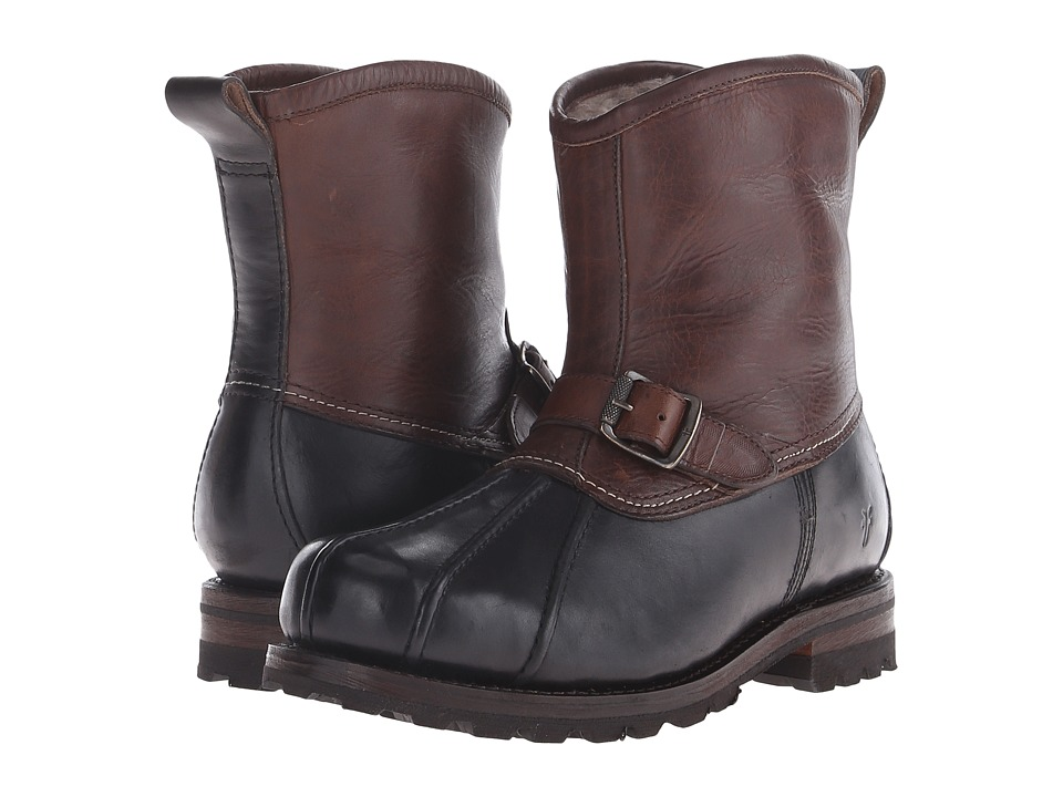 Frye - Warren Duck Engineer (Black Multi WP Smooth Pull Up/Shearling Lined) Mens Pull-on Boots