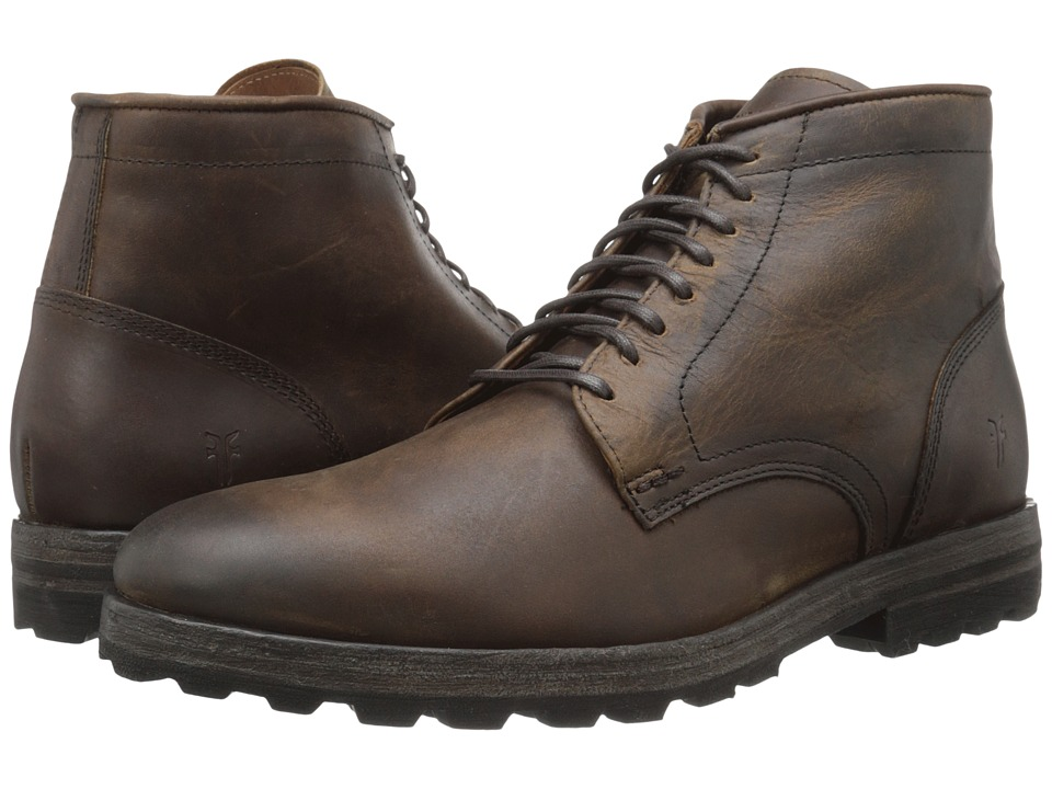 Frye William Lug Lace Up (Dark Brown WP Soft Pebbled Full Grain) Men