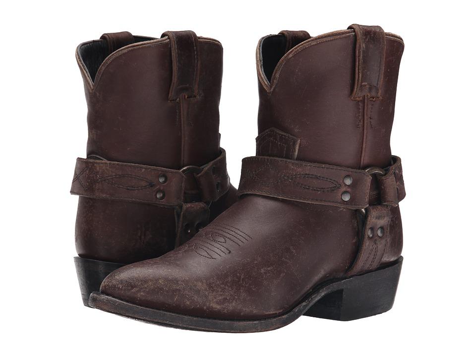 Frye Billy Harness Short Espresso Smooth Stone Wash Cowboy Boots