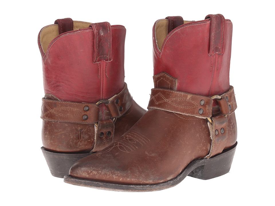 Frye Billy Harness Short Burgundy Multi Smooth Full Grain/Smooth Pull Up Cowboy Boots
