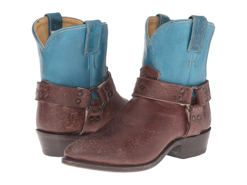 Frye Billy Harness Short Turquoise Multi Smooth Full Grain/Smooth Pull Up Cowboy Boots