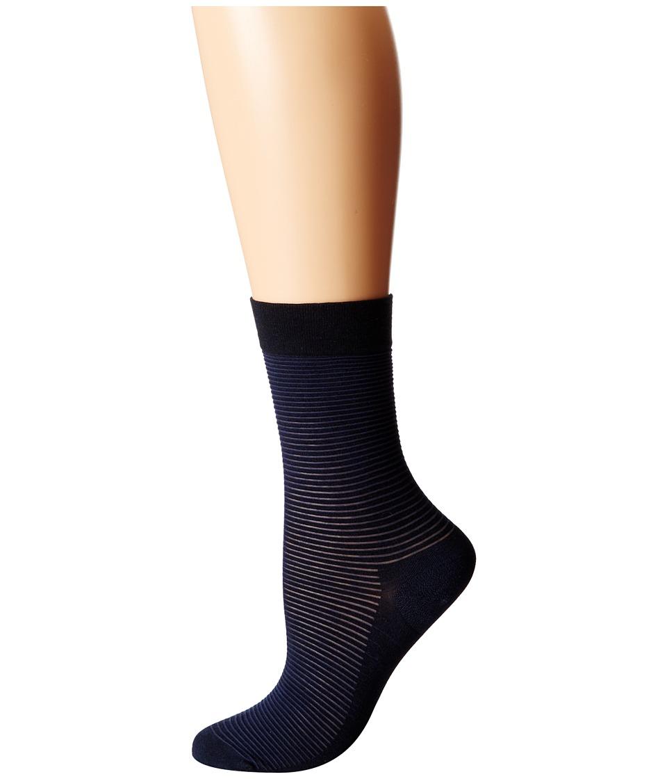 Wolford Cotton Stripes Socks Navy/Black Womens Crew Cut Socks Shoes