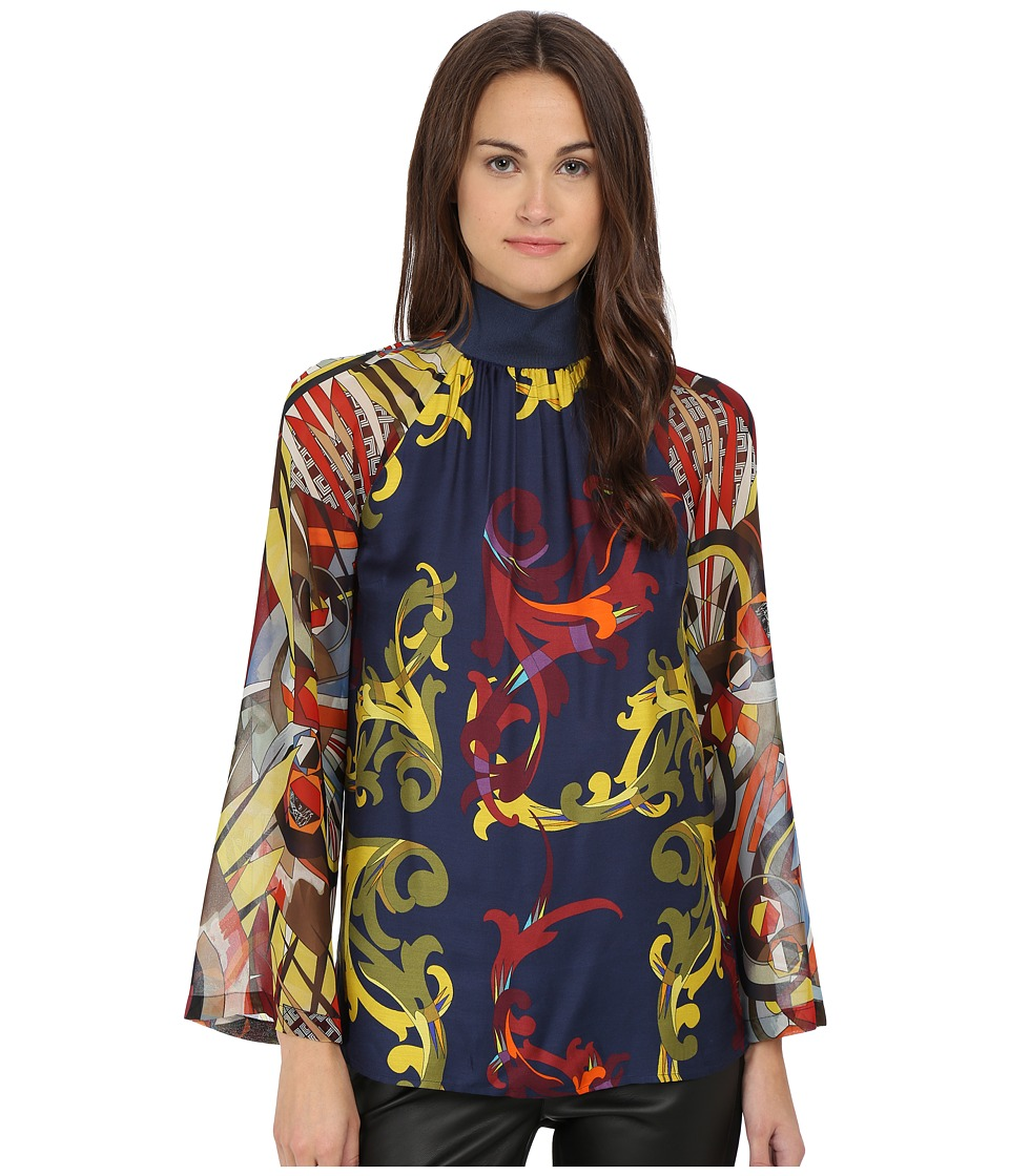Versace Collection Long Sleeve Printed Blouse Multi Womens Blouse
