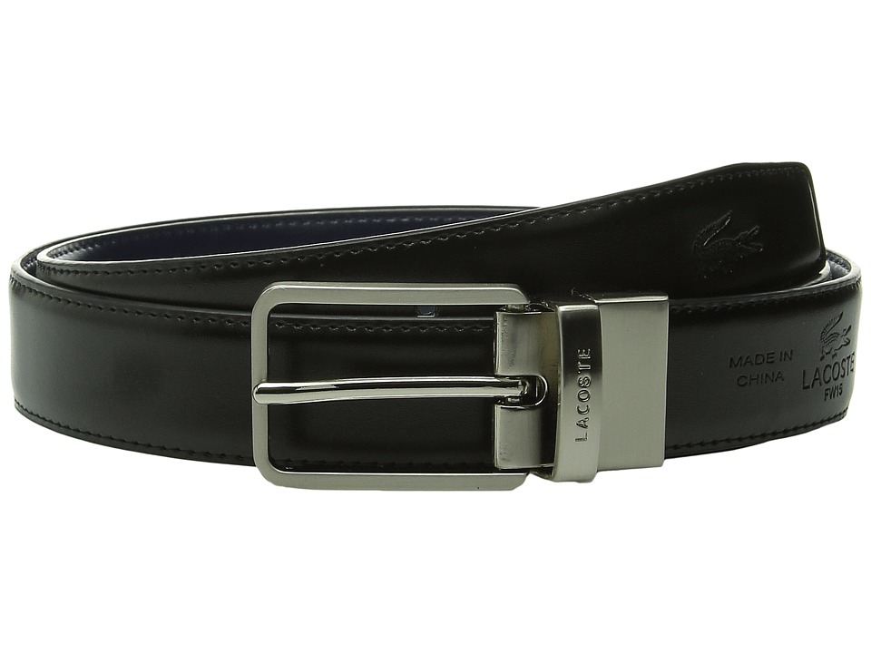 Lacoste Premium Reversible Leather Nickel Embossed Croc Belt (Black/Dark Blue) Men