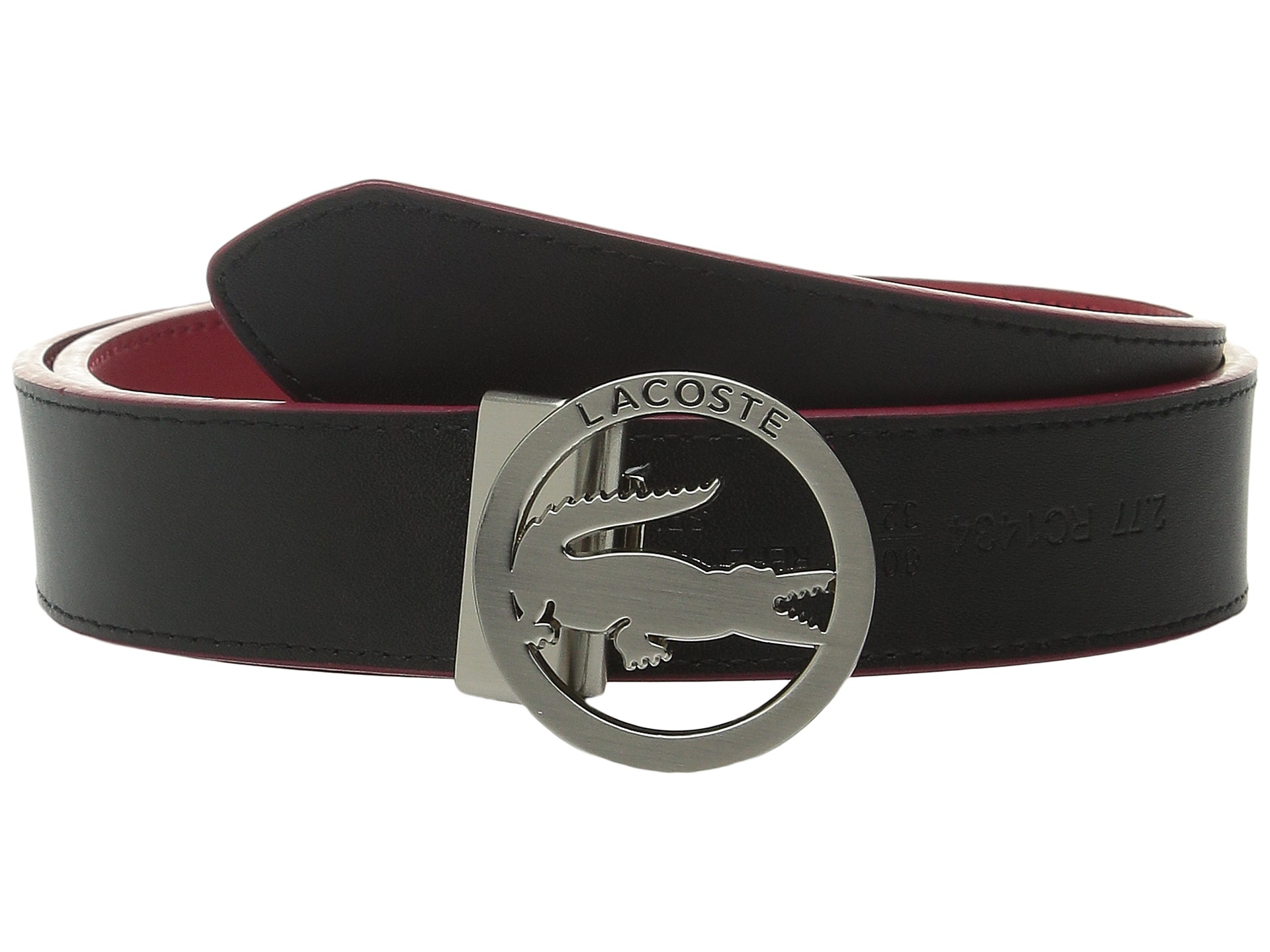 Lacoste Men's Reversible Leather Belt With Engraved Logo Buckle ...