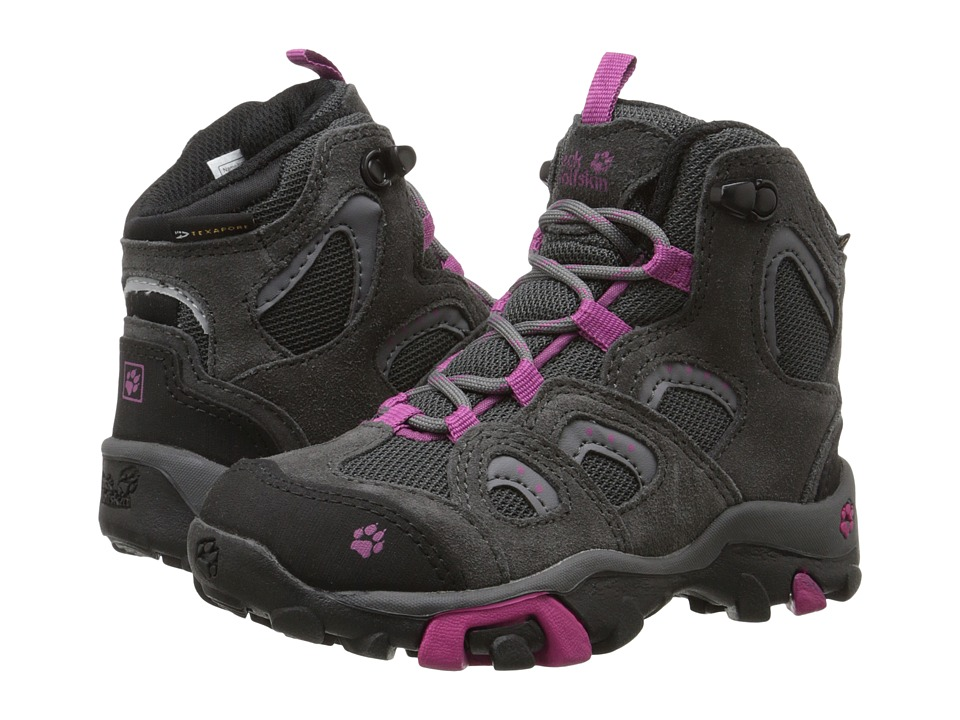 Jack Wolfskin Kids Mountain Storm Waterproof Mid Toddler/Little Kid Dark Magenta Girls Shoes