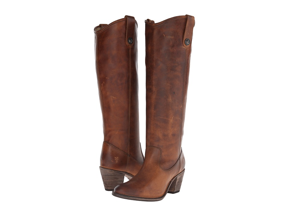 Frye Jackie Button Cognac Antique Pull Up Womens Dress Pull on Boots