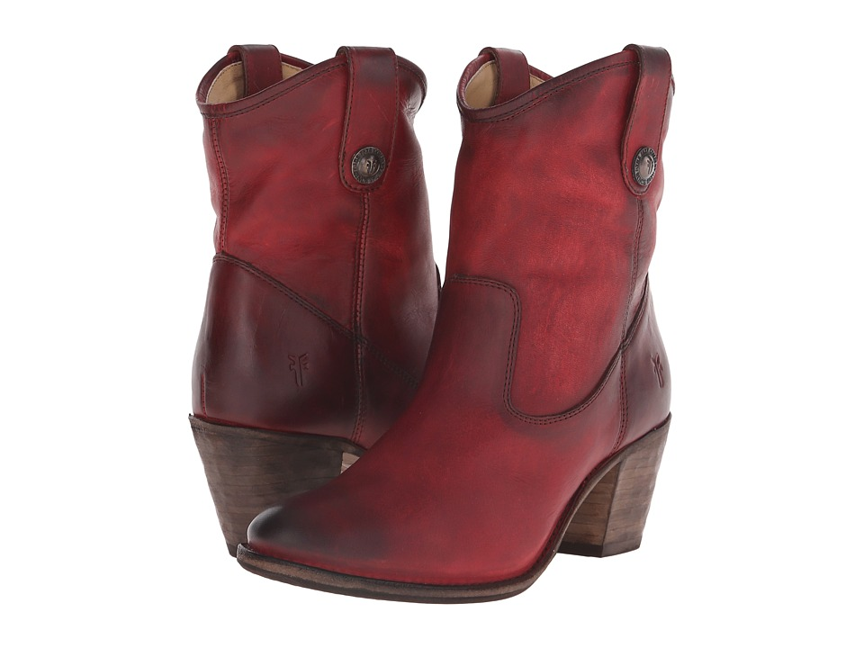 Frye Jackie Button Short Burgundy Antique Pull Up Womens Dress Pull on Boots