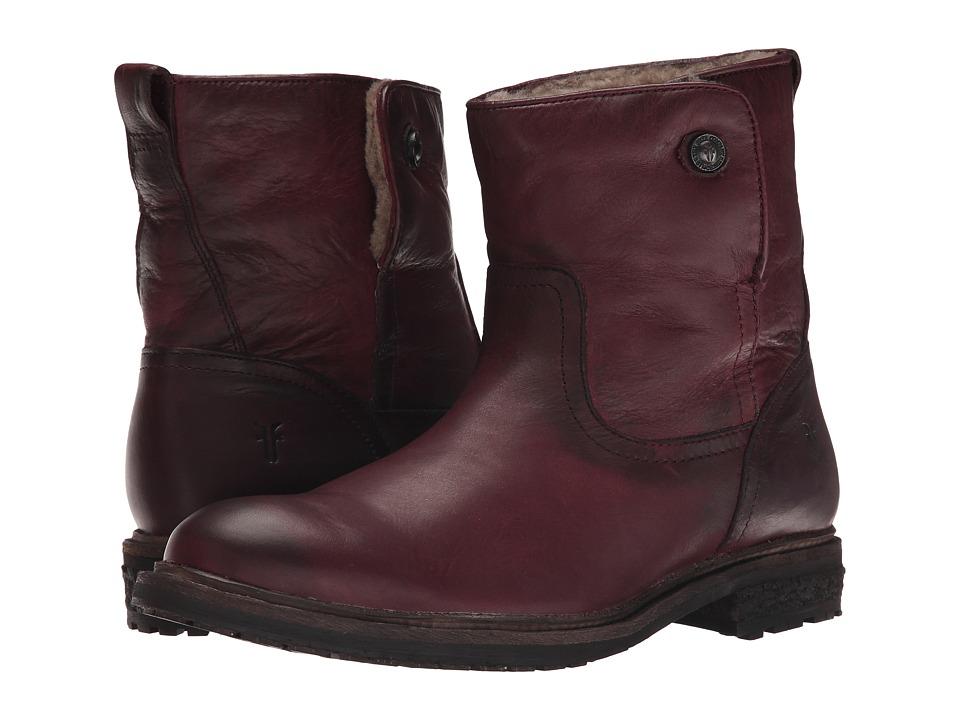 Frye - Mara Button Short (Bordeaux Soft Classic Leather) Cowboy Boots