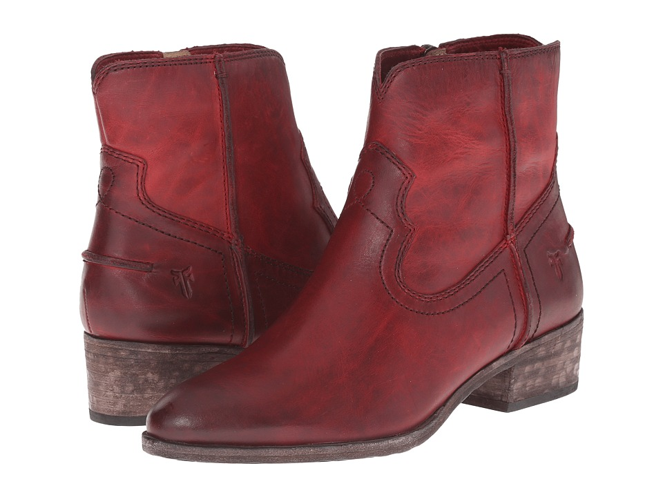 Frye Ray Seam Short Burgundy Washed Antique Pull Up Cowboy Boots