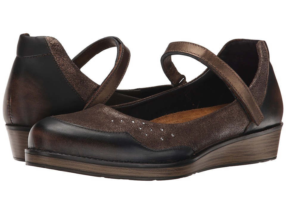 Naot Footwear Sincere (Volcanic Brown Leather/Bronze Shimmer Suede/Grecian Gold Leather) Women