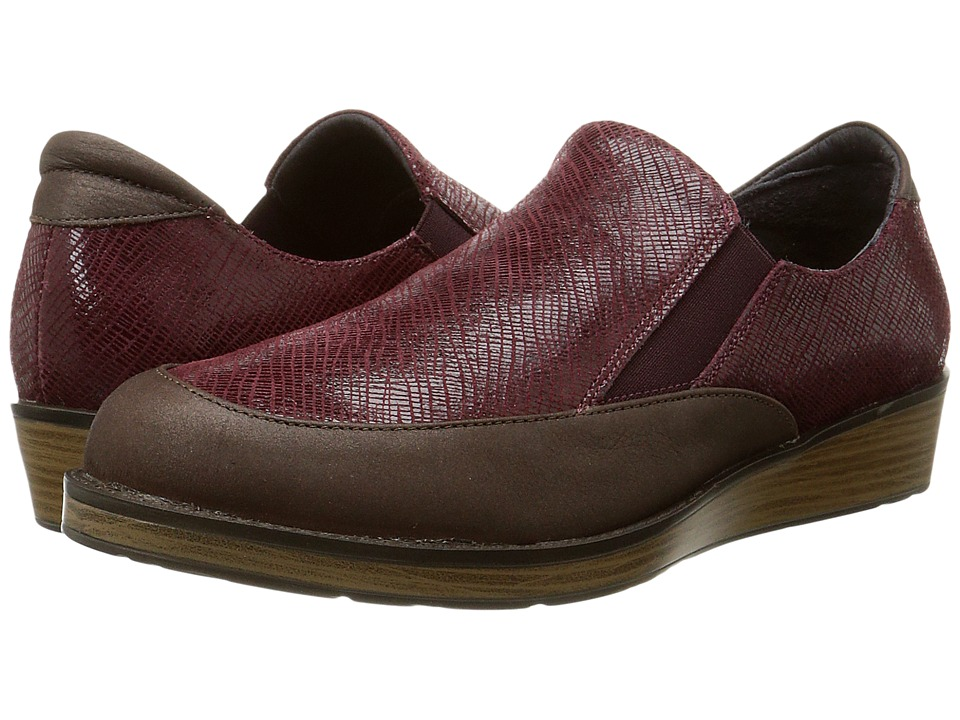 Naot Footwear Cherish Brown Shimmer Nubuck/Reptile Burgundy Leather Womens Shoes