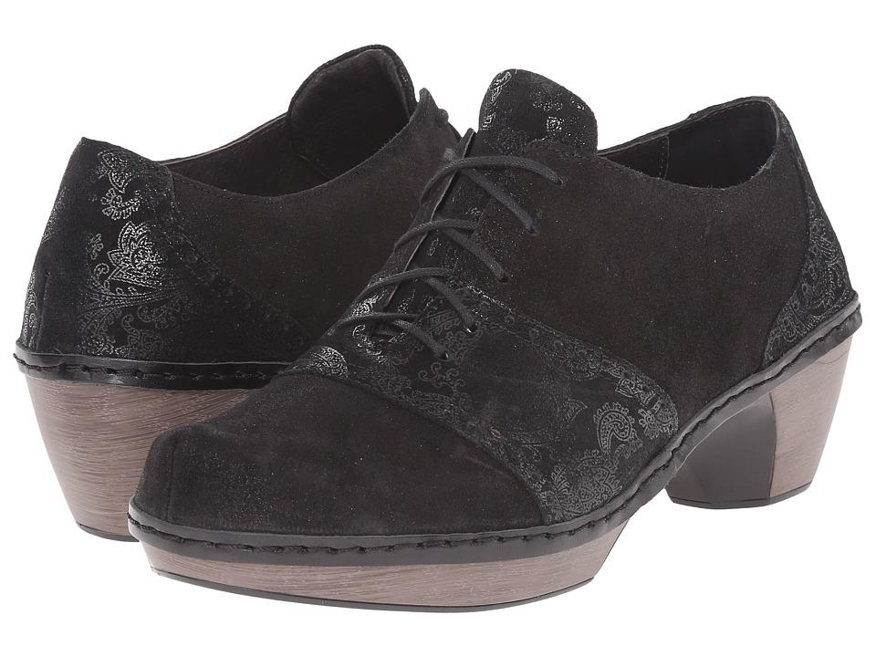 Naot Footwear Besalu Black Lace Nubuck/Shiny Black Leather Womens Shoes