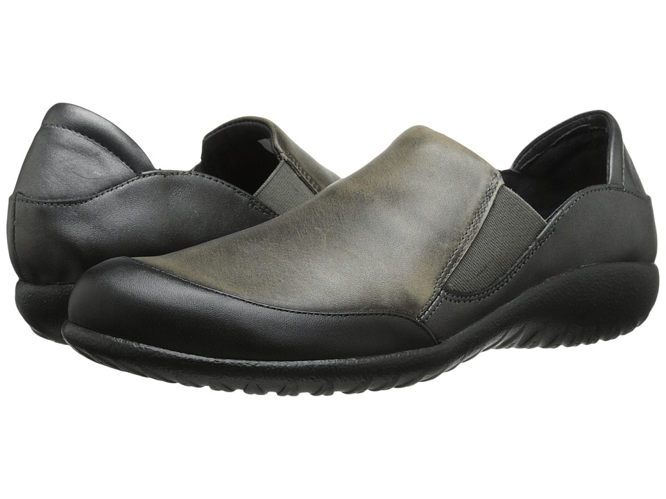 Naot Footwear - Moana (Black Raven Leather/Vintage Gray Leather/Metallic Road Leather) Women