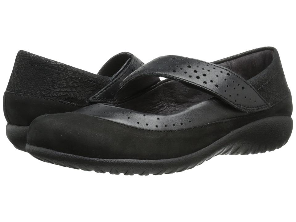 Naot Footwear - Aroha (Black Velvet/Black Raven Leather/Black Crackle/Glass Brown) Women
