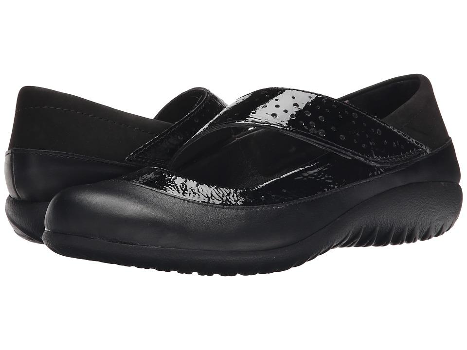 Naot Aroha (Black Crinkle/Black Raven Leather/Black Velvet/Glass Silver) Women
