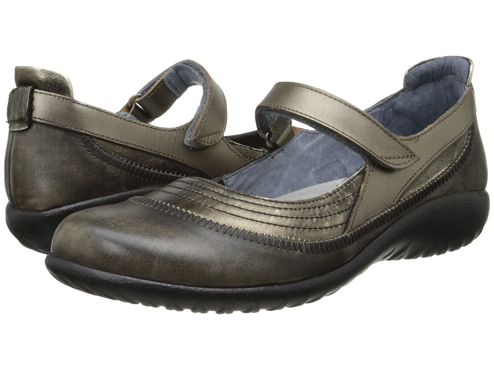 Naot Footwear Kirei (Metal Leather/Vintage Gray Leather/Pewter Leather) Maryjane Shoes