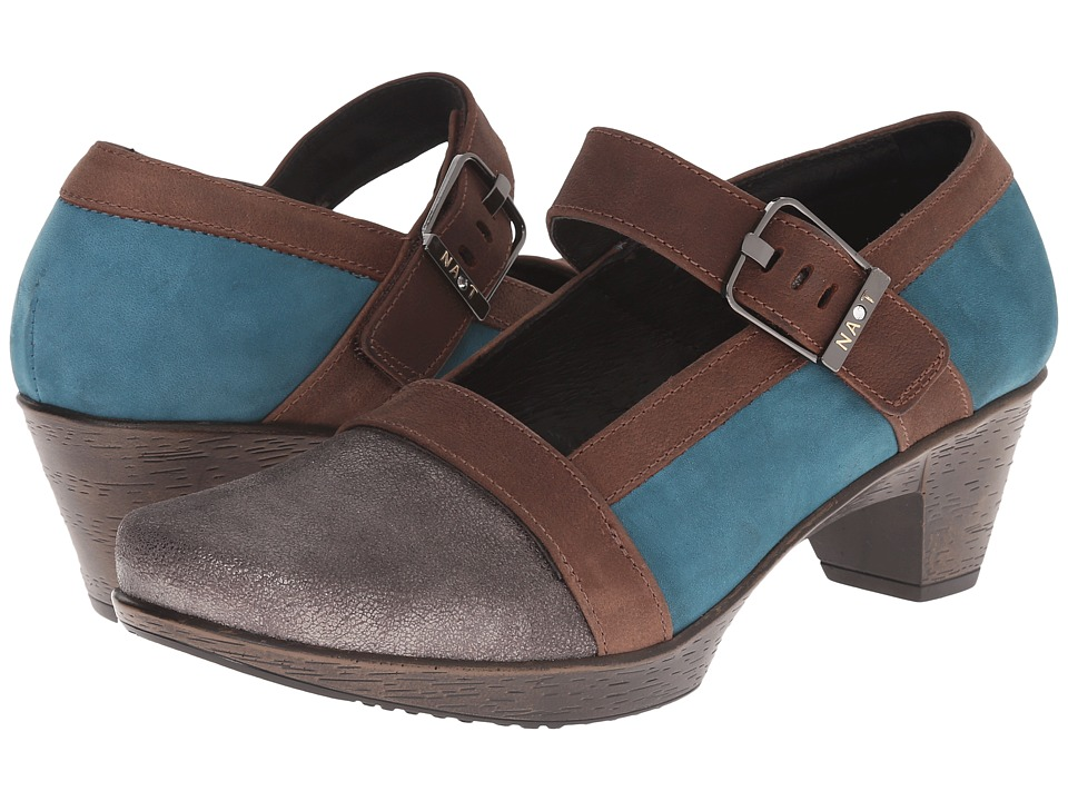 Naot Footwear Dashing Gray Shimmer Leather/Teal Nubuck/Carob Brown Leather Womens Shoes
