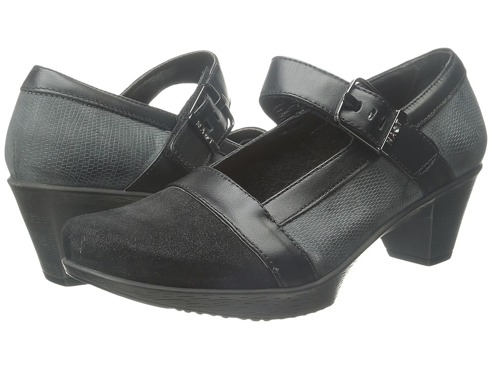 Naot Footwear Dashing Shiny Black Leather/Reptile Gray Leather/Black Raven Leather Womens Shoes