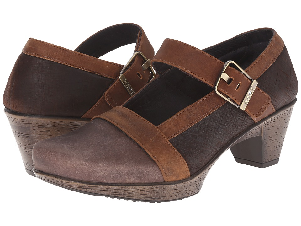 Naot Footwear Dashing Brown Haze Leather/Mine Brown Leather/Saddle Brown Leather Womens Shoes