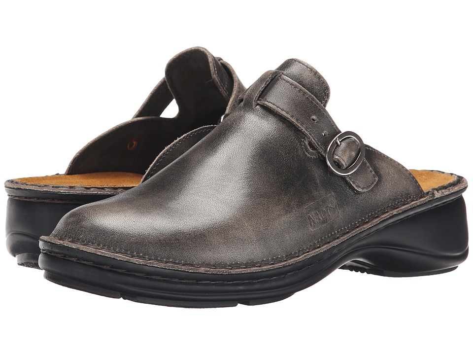 Naot - Aster (Vintage Gray Leather) Womens Clog/Mule Shoes