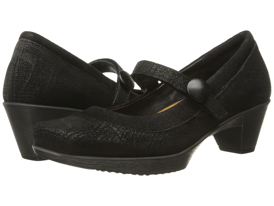 Naot Footwear Latest (Black Crackle Leather/Shiny Black Leather) Women
