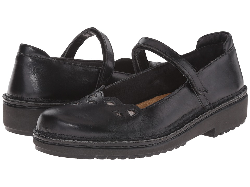 Naot Footwear - Elsa (Black Madras Leather/Silver Threads Leather) Women