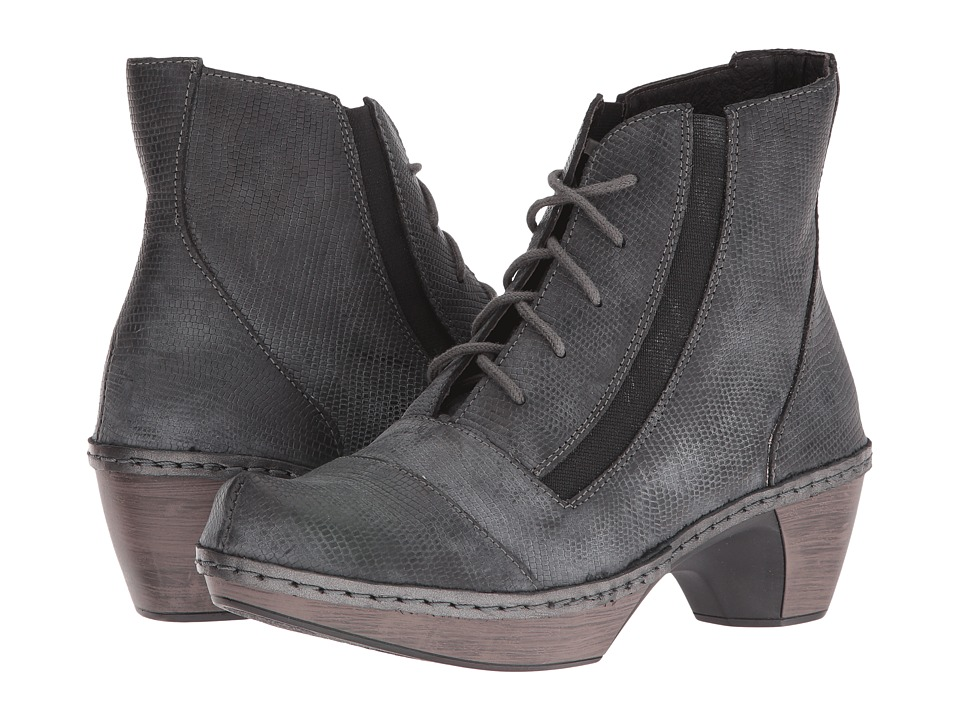Naot Footwear Avila Reptile Gray Leather Womens Boots