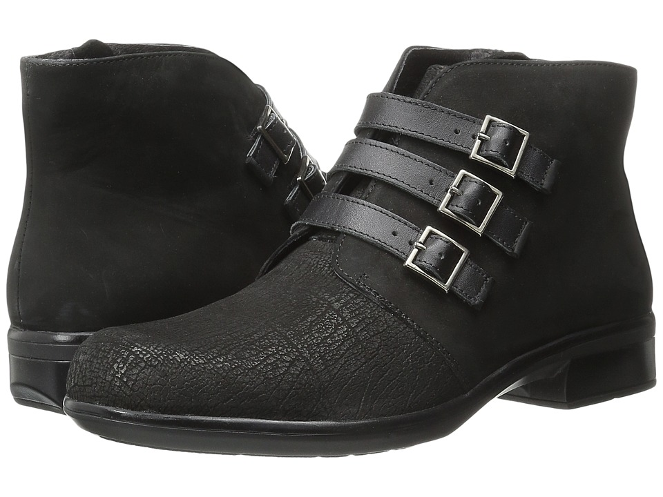 Naot Footwear Calima (Black Crackle Leather/Black Velvet Nubuck/Black Raven Leather) Women