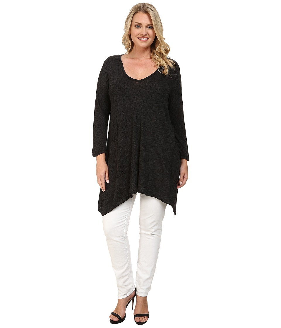 Allen Allen Plus Size Three Quarter Angled Tee (Black) Women