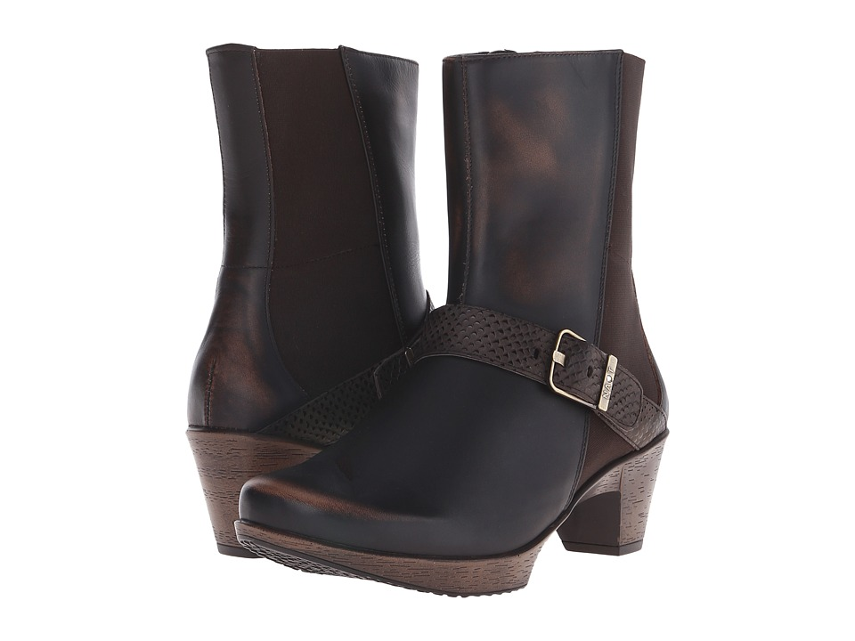 Naot Footwear Reflect Volcanic Brown/Brown Croc Leather/Volcanic Brown Leather Womens Zip Boots