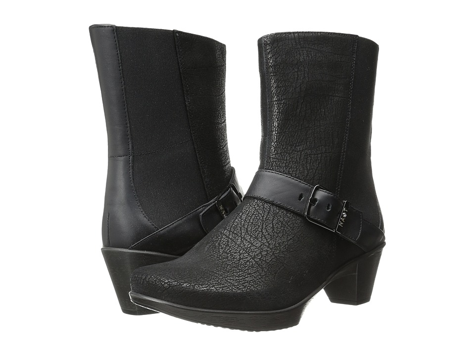 Naot Footwear Reflect Black Crackle Leather/Jet Black Leather Womens Zip Boots