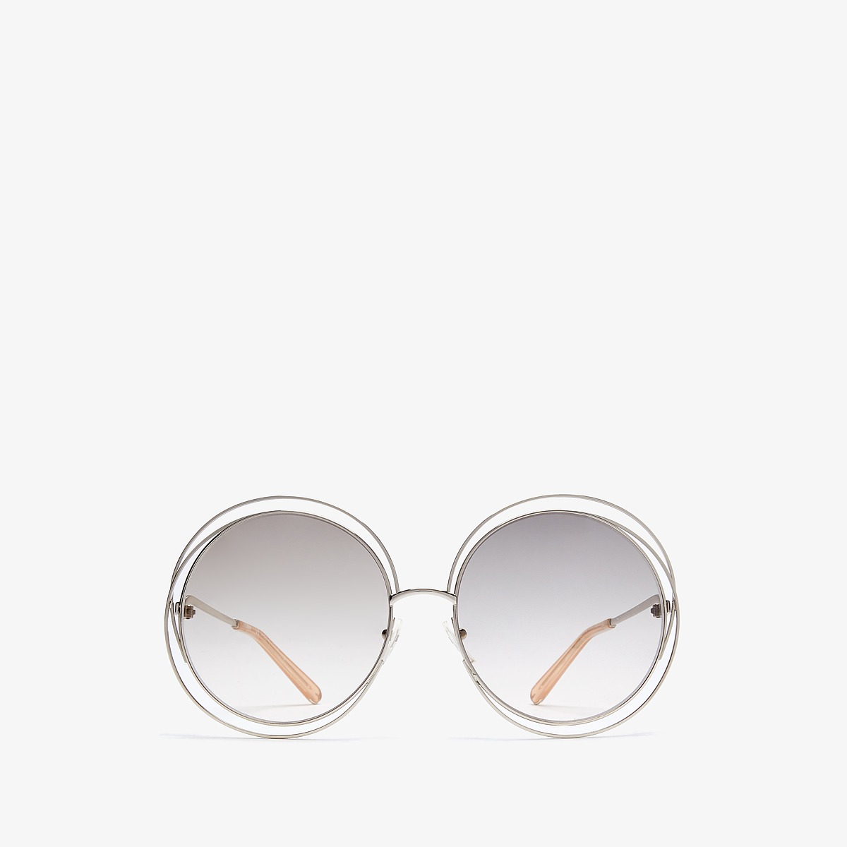 Chloe Carlina Round Gold/Transparent Peach Fashion Sunglasses