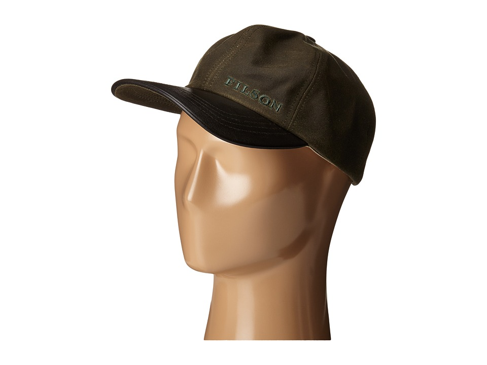 Filson Tin Leather Cap Otter Green Baseball Caps