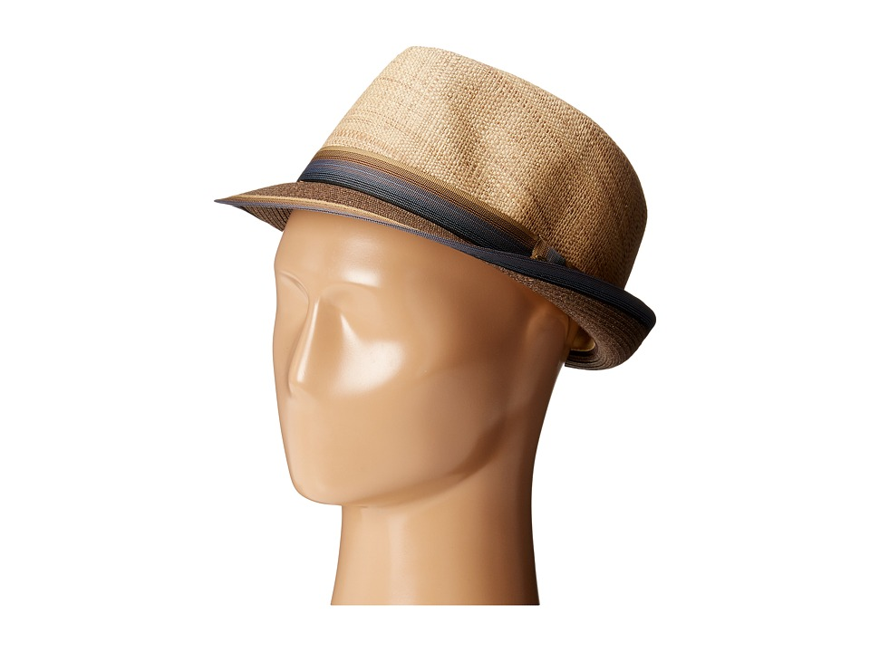 SCALA Matte Raffia Braid Fedora with Strip Ribbon Band Brown Fedora Hats
